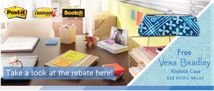 You'll love this Vera Bradley rebate from 3M, Scotch, and Post-it, brought to you by OfficeZilla.com!